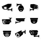 Κάμερα παρακολούθησης ασφάλειας, διανυσματικά εικονίδια CCTV Στοκ Εικόνες