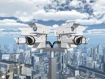 Κάμερα παρακολούθησης πέρα από μια πόλη Στοκ φωτογραφία με δικαίωμα ελεύθερης χρήσης