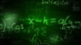 Κάμερα που πετά μέσω των μαθηματικών εξισώσεων και των τύπων απόθεμα βίντεο
