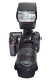 Κάμερα, φακός και λάμψη DSLR στοκ εικόνα με δικαίωμα ελεύθερης χρήσης