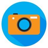 Κάμερα φωτογραφιών διάνυσμα εικονιδίων εργαλείων Πορτοκαλιά κάμερα χρώματος στα μπλε WI κύκλων Στοκ Εικόνες