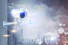 Κάμερα CCTV, HUD σε μια πόλη ελεύθερη απεικόνιση δικαιώματος