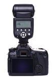 Κάμερα DSLR με τη λάμψη στοκ φωτογραφία