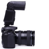 Κάμερα DSLR με τη λάμψη στοκ φωτογραφίες
