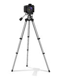 Κάμερα SLR σε ένα τρίποδο Κατασκευή μετάλλων Πάρτε μια φωτογραφία, τον κινηματογράφο ή το βίντεο ελεύθερη απεικόνιση δικαιώματος