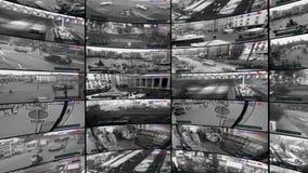 Κάμερες CCTV, διασπασμένη οθόνη των κάμερων ασφαλείας, τηλεοπτικός τοίχος απόθεμα βίντεο