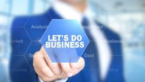 Κάνετε επιχειρήσεις, επιχειρηματίας που εργάζεται στην ολογραφική διεπαφή, γραφική παράσταση κινήσεων Στοκ Εικόνες