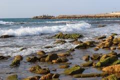 Κάνετε σερφ τη Μεσόγειο σε Jaffa Στοκ φωτογραφία με δικαίωμα ελεύθερης χρήσης