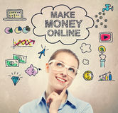 Κάνετε τα χρήματα το σε απευθείας σύνδεση σκίτσο ιδέας με τη νέα επιχειρησιακή γυναίκα στοκ εικόνα