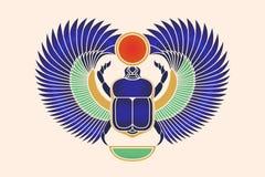 Κάνθαρος scarab με τα φτερά, τον ήλιο και ένα ημισεληνοειδές φεγγάρι Αρχαίος αιγυπτιακός πολιτισμός Αυγή πρωινού ήλιων Khepri Θεώ διανυσματική απεικόνιση