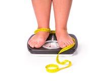 κάνοντας δίαιτα παχιά γυν&alph στοκ φωτογραφίες