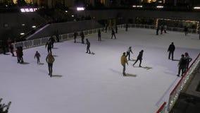 Κάνοντας πατινάζ πόλη της Νέας Υόρκης πάγου απόθεμα βίντεο