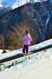 Κάνοντας σκι, μια περιπέτεια για τα παιδιά Στοκ εικόνα με δικαίωμα ελεύθερης χρήσης