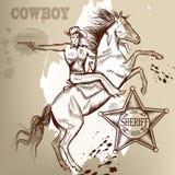 Κάουμποϋ ή σερίφης σε ένα άλογο που από το πυροβόλο όπλο Στοκ Εικόνες