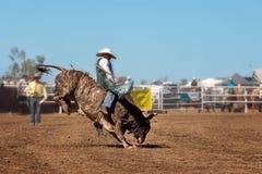 Κάουμποϋ που οδηγά το Bull στο ροντέο Στοκ Εικόνα