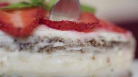 Κάποιος που τρώει το εύγευστο γλυκό επιδόρπιο στο marco φιλμ μικρού μήκους