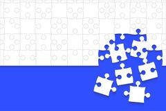 Κάποιο άσπρο μπλε κομματιών γρίφων - διανυσματικό τορνευτικό πριόνι Στοκ Εικόνες
