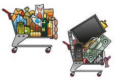 Κάρρα αγορών με τα αγαθά διανυσματική απεικόνιση