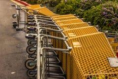 Κάρρα αγορών που βάζουν στην πλευρά στο χώρο στάθμευσης στοκ φωτογραφίες με δικαίωμα ελεύθερης χρήσης