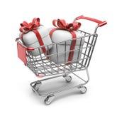 Κάρρο αγοράς με τα δώρα. τρισδιάστατος που απομονώνεται Στοκ Εικόνες