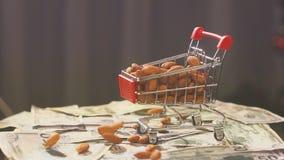 Κάρρο αγορών από την υπεραγορά που γεμίζουν με τα καρύδια αμυγδάλων πτώση καρυδιών αμυγδάλων στο κάρρο υπεραγορών στο υπόβαθρο απόθεμα βίντεο