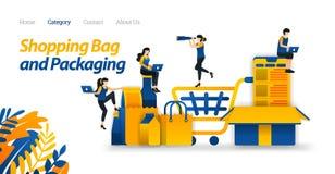 Κάρρο αγορών για να μεταφέρει τα εμπορεύματα στα σε απευθείας σύνδεση καταστήματα και τα διάφορα συσκευάζοντας πρότυπα σχεδίου Δι ελεύθερη απεικόνιση δικαιώματος