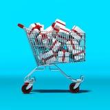 Κάρρο αγορών με τα δώρα μέσα διανυσματική απεικόνιση