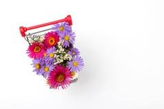 Κάρρο αγορών με τα διαφορετικά άγρια λουλούδια στο άσπρο υπόβαθρο στοκ φωτογραφία με δικαίωμα ελεύθερης χρήσης