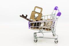 Κάρρο αγορών με τα νομίσματα και κύριο κλειδί για τη λιανική επιχείρηση Χρήση εικόνας για τις σε απευθείας σύνδεση και σε μη απευ Στοκ Φωτογραφίες
