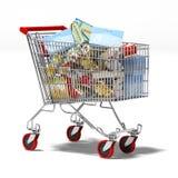 Κάρρο αγορών με τα προϊόντα μέσα ελεύθερη απεικόνιση δικαιώματος