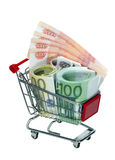 Κάρρο αγορών με τα χρήματα Στοκ Εικόνες