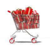Κάρρο αγορών με το δώρο μέσα απεικόνιση αποθεμάτων