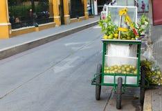 Κάρρο με τη Λίμα και τα λεμόνια για να πωλήσει το χυμό στην Καρχηδόνα Κολομβία Στοκ εικόνα με δικαίωμα ελεύθερης χρήσης