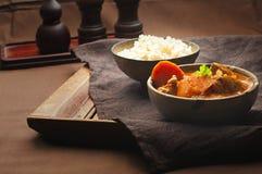 Κάρρυ και ρύζι κοτόπουλου Στοκ Φωτογραφία