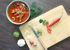 Κάρρυ κοτόπουλου panang και καρύκευμα συστατικών στο ξύλινο υπόβαθρο στοκ εικόνες