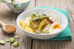 Κάρρυ κοτόπουλου με ταϊλανδικό vermicelli ρυζιού Στοκ Εικόνες