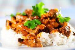 Κάρρυ χοιρινού κρέατος με το ρύζι Στοκ φωτογραφίες με δικαίωμα ελεύθερης χρήσης