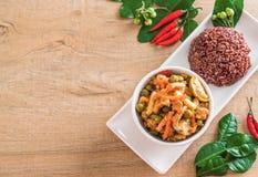 Κάρρυ Panaeng με το ρύζι χοιρινού κρέατος και μούρων Στοκ Φωτογραφίες