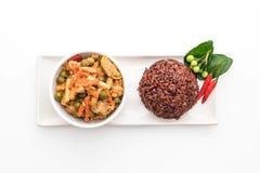 Κάρρυ Panaeng με το ρύζι χοιρινού κρέατος και μούρων Στοκ Εικόνα