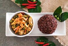 Κάρρυ Panaeng με το ρύζι χοιρινού κρέατος και μούρων Στοκ φωτογραφία με δικαίωμα ελεύθερης χρήσης