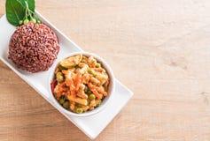 Κάρρυ Panaeng με το ρύζι χοιρινού κρέατος και μούρων Στοκ εικόνα με δικαίωμα ελεύθερης χρήσης