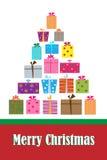 Κάρτα δέντρων δώρων Χριστουγέννων διανυσματική απεικόνιση