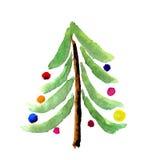 Κάρτα δέντρων watercolor Χριστουγέννων Στοκ Εικόνες