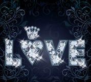 Κάρτα αγάπης διαμαντιών Στοκ Φωτογραφίες