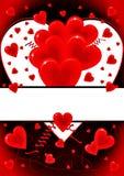 Κάρτα αγάπης με τα σύμβολα καρδιών Στοκ Εικόνες