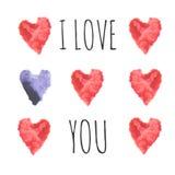 Κάρτα αγάπης με τις καρδιές watercolor Γάμος ή πρότυπο του βαλεντίνου Στοκ εικόνα με δικαίωμα ελεύθερης χρήσης