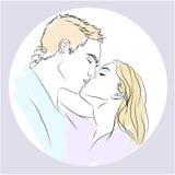 Κάρτα αγάπης με το φίλημα του ζεύγους Διανυσματική απεικόνιση
