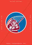 Κάρτα-αμερικανική σημαία εκμετάλλευσης πατριωτών χαιρετισμού ημέρας της ανεξαρτησίας απεικόνιση αποθεμάτων