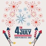 Κάρτα ΑΜΕΡΙΚΑΝΙΚΗΣ ημέρας της ανεξαρτησίας ελεύθερη απεικόνιση δικαιώματος