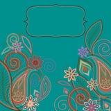 Κάρτα - ανατολικό σχέδιο με το Paisley και τα λουλούδια Παραδοσιακή διακόσμηση - διάνυσμα Στοκ φωτογραφίες με δικαίωμα ελεύθερης χρήσης
